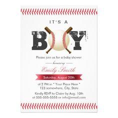 It's a Boy Baseball Stitching Sports Baby Shower 5x7 Paper Invitation Card