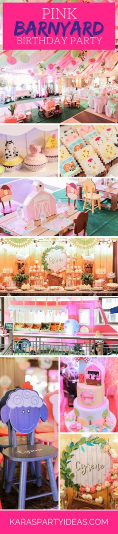 Pink Barnyard | Girl Farm Birthday Party via Kara's Party Ideas