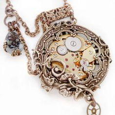 Steampunk necklace Victorian pocket watch style by Federikas on we heart it / visual bookmark #23680684 (steampunk,jewelry,necklace,pocket watch,watch,victorian,beautiful,vintage,silver,gold)