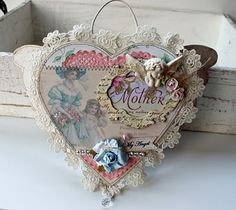 use pattern and make a deco pin cushion from cloth-lace ribbon etc.