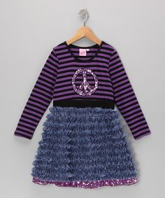 Take a look at this Purple & Black Sparkle Peace Sign Dress - Toddler & Girls by Lipstik Girls on #zulily today!