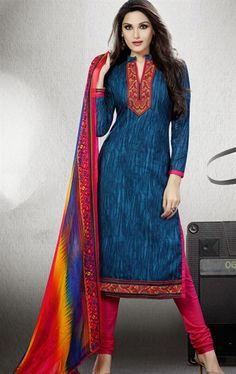 Picture of Exquisite Teal Blue Color Cotton Salwar Kameez