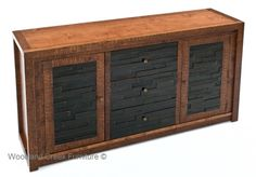 Reclaimed wood pieces are layered to resemble stacked stone in this unique refined rustic furniture designs. Custom sizes and layouts available.