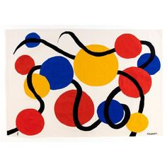 "Alexander Calder (1898-1976) Les vers noirs - 1971 Tapestry in Aubusson wool signed ""Calder"" and monogrammed ""PF"" of the Edition"