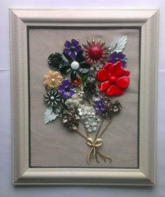 Framed Vintage Jewelry Art Floral FLOWER POWER by FancyLanyards, $75.00