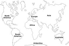 printable world map with labels | Outline Map of 7 Continents One