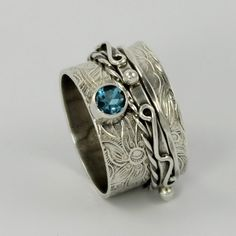 Spinner Ring with facted gem stone  by KBerlinMetalsmith on Etsy, $197.00