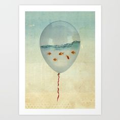 Buy balloon fish Art Print by vin zzep. Worldwide shipping available at Society6.com. Just one of millions of high quality products available.