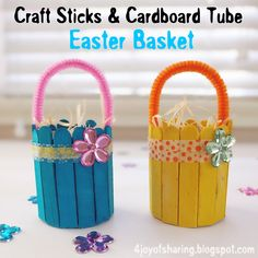 Simple And Easy Easter Basket Craft For Kids #EasterCraft #KidsCraft #RecycledCrafts