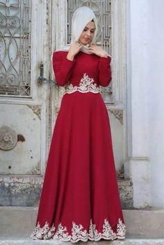 Ayzade Bordo Hafza Sultan Tesettür Elbise