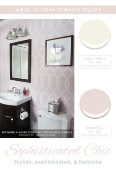 A stenciled bathroom using the Entwined allover stencil. http://www.cuttingedgestencils.com/stencil-pattern-2.html #cuttingedgestencils #stencils #diy #stenciling #wallstencils #stylegame #homedecor