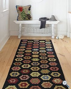 Garnet Hill Americana Hooked Wool Rug ~♥~this rug Black White Bedrooms, White Walls, Floor Runners, Rug Runners, Hand Hooked Rugs, Penny Rugs, English Paper Piecing, Wool Applique, Rug Hooking
