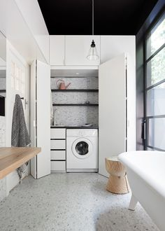 If space is at a premium, then consider the trend of a small European laundry. With European laundry ideas, inspiration & design tips, we will ensure you are on the right path for an efficient small modern laundry. Laundry Bathroom Combo, Laundry Cupboard, Laundry Closet, Small Bathroom, Bathroom Ideas, Laundry Rooms, Bathroom Interior, Bathroom Gray, Small Sink