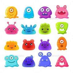 Cartoon Jelly Monsters Set by Top_Vectors Cute Cartoon Jelly Monsters, Vector Illustration Set Alien Character, Funny Character, Game Character, Character Design, Cute Monster Illustration, Halloween Illustration, Character Illustration, Funny Monsters, Cartoon Monsters