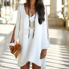 Women's Chiffon V-neck Casual Long Sleeve Dresses, everything they have is so affordable! LOVE this dress! Summer hurry up!!!! clothing I need, summer dress, like the clutch and jewelry too