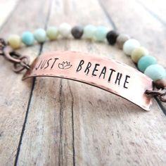 just breathe pastel beaded bracelet