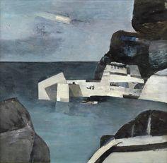 "Keith Vaughan ""Broken Harbour at Port Allan"", 1955 Seascape Paintings, Landscape Paintings, Landscapes, Abstract Landscape, Abstract Art, Camberwell College Of Arts, Manchester Art, Art Moderne, Gravure"