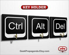 Ctrl Alt Del set of 3 plaques 3 hooks total themed key. Geek Propaganda 306f24b2aa