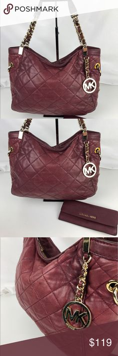 "Michael Kors Susannah Medium Satchel & Wallet Authentic. Used. Some marks on exterior and inside liner. Wear on handles. Includes wallet.   The Susannah satchel from MICHAEL Michael Kors boast and on-trend quilted leather body in wine. The top-zip entry of this designer bag opens to jacquard logo-patterned lining with several pockets inside. 15""L x 10""H x 6""D. 6"" Handle drop, 16"" strap. 30F3GAHE2L. RB766  Thank you for your interest!  PLEASE - NO TRADES / NO LOW BALL OFFERS / NO OFFERS IN…"
