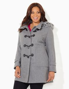 Toggle & Trim Coat | Catherines Toggle details translate to timeless sophistication on our elegant coat. Cozy faux wool fabric, paired with a zip-and-snap front with overlapping toggle closures, creates a tripling defense against any weather. Easily transform the silhouette by removing the detachable hood or choose to just remove the fashionable, faux fur rim for a streamlined look. Long sleeves. #catherines #plussizefashion #fallfashion #coat