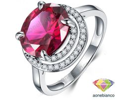 Pink Ruby Engagement Solitaire Women's 10K White Gold Finish Ring Size 5-12 #aonebianco #SolitairewithAccentsEngagementRing