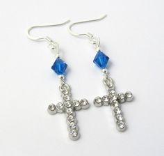 Blue Cross Earrings Rhinestone Earrings Blue by BeadBrilliant, $20.00