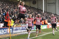 FA Cup 5th. round : Chris Porter celebrates putting Sheffield United ahead from the penalty spotagainst Forest in injury time. He had come on as a substitute five minutes before.