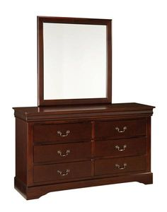 lewiston classic brown wood glass dresser - Bedroom Dresser Sets