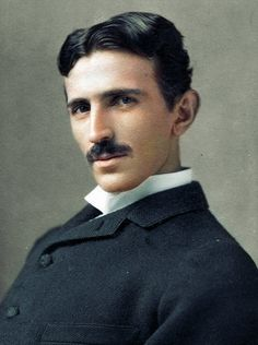 Nikola Tesla, 1893. Nikola Tesla's face is much more lifelike in this colorized version of his famous portrait. Tesla was famous for his development of the alternating current power system that dominates modern technology to this day.