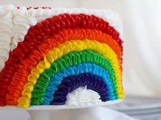 Rainbow Ruffle Birthday Cake with #McCormick Vanilla buttercream! #recipe