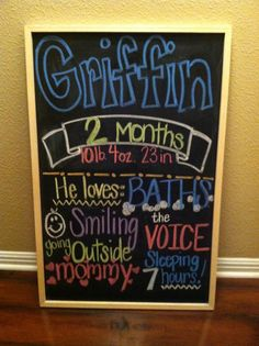 Child's Month to month chalkboard signs