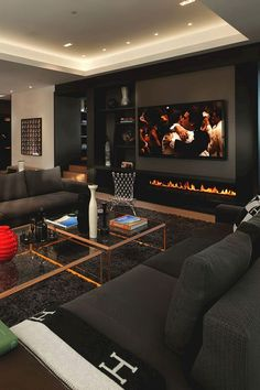 Living Room Design Dark Furniture Therefore a fireplace is just the right installation. May you like dark living room furniture. 42 Chic Interior Design For You This Summer Family Room. Living Room Interior, Home Interior Design, Black Living Room Furniture, Interior Ideas, Apartment Interior, Luxury Living Rooms, Interior Inspiration, Cosy Interior, Hall Interior