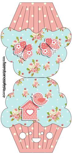 Convite Cupcake Jardim Encantado Vintage Floral:                                                                                                                                                      Mais