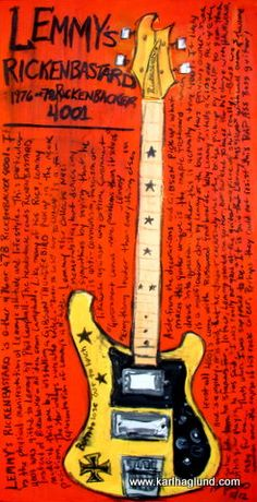 Lemmy's Rickenbacker electric bass guitar art by KarlHaglundArt, $20.00