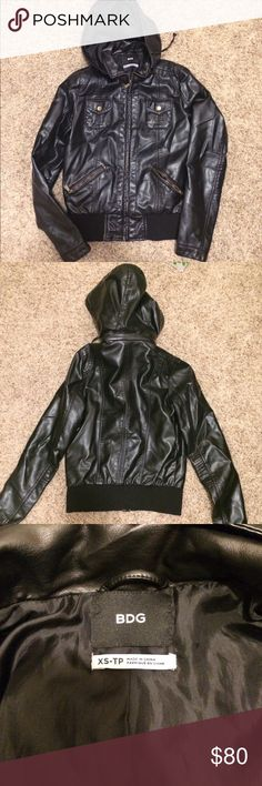 UO Vegan leather jacket Urban Outfitters vegan leather jacket. Removable hood and adjustable with strings. Like new. There is a small rip in the lining underneath the armpit. Photo shows with thumb to gauge size. From a smoke free and pet free home. Great jacket. Just never wear. Urban Outfitters Jackets & Coats