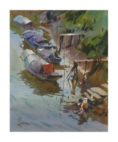 Riverbank by Andy Evansen, Watercolor, 14 x 11 Watercolor Water, Watercolor Artists, Watercolor Paintings, Watercolors, Old Lanterns, California Art, Red River, Art Club, American Artists