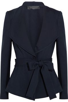 Donna Karan New York Belted Crepe Jacket in Navy, $2,146 | NET-A-PORTER.COM