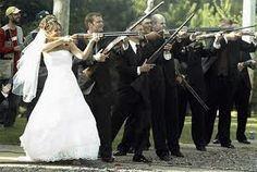 bride with gun wedding photography - Google Search