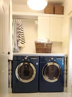 Laundry room with countertop & white baluster legs, cabinets, beadboard backsplash, and shower curtain rod, MDF shelf and woven baskets