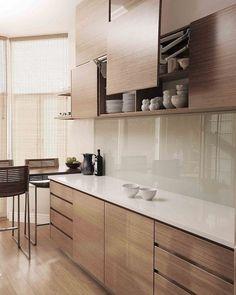 Practical overhead storage by ADK Cabinetworks - Modern Kitchen Kitchen Room Design, Kitchen Cabinet Design, Kitchen Layout, Home Decor Kitchen, Interior Design Kitchen, Kitchen Ideas, Rustic Kitchen, Kitchen Furniture, Modern Kitchen Interiors