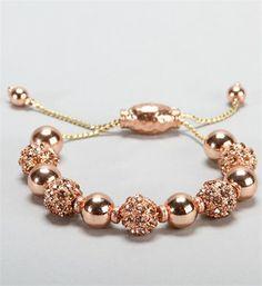 Rose Gold Rhinestone Fireball Bracelet