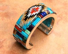 Inlay Navajo Cuff by Melisio Benally