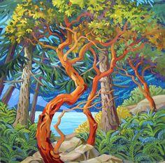 Watercolor Landscape, Landscape Art, Landscape Paintings, Ink Paintings, Arbutus Tree, Cool Artwork, Amazing Artwork, Mini Canvas Art, Alcohol Ink Painting