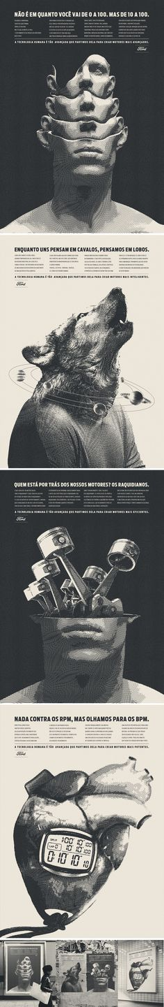 Pôsteres de design para a campanha da Ford sobre tecnologia humana.