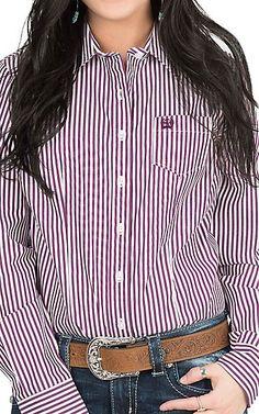 Cinch Women's Purple and White Stripe Long Sleeve Western Shirt | Cavender's