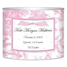 Personalized Pink Toile Baby Bin-Available in Two Different Sizes -  great baby gift! Great for a pink nursery