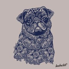 Mandala of Pug by huebucket #pugdrawing