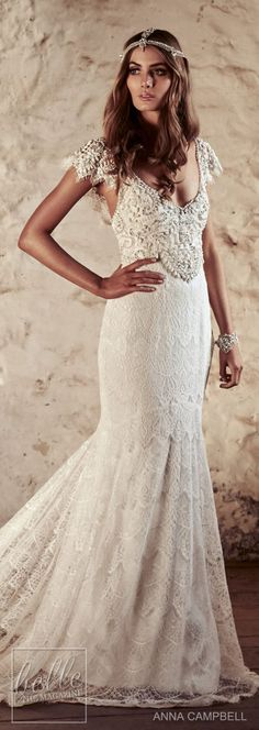 anna campbell 2018 bridal butterfly sleeves scoop neckline heavily beaded embellished bodice romantic elegant fit and flare wedding dress open v back short train mv -- Anna Campbell 2018 Wedding Dresses Wedding Dresses 2018, Bridal Dresses, Dress Wedding, Unique Dresses, Vintage Dresses, Boho Dress, Lace Dress, Anna Campbell, Fit And Flare Wedding Dress