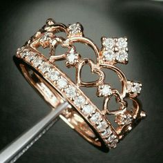 Crown rose gold ring