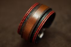 Leather bracelet red and black